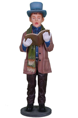 Caroler Christmas Singing Boy Resin Statue Prop Decor- LM Treasures