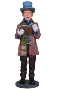 Caroler Christmas Singing Boy Resin Statue Prop Decor - LM Treasures Life Size Statues & Prop Rental
