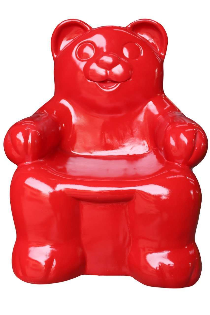 Gummy Bear Chair Red Candy Small Over sized Display Resin Prop Decor Statue