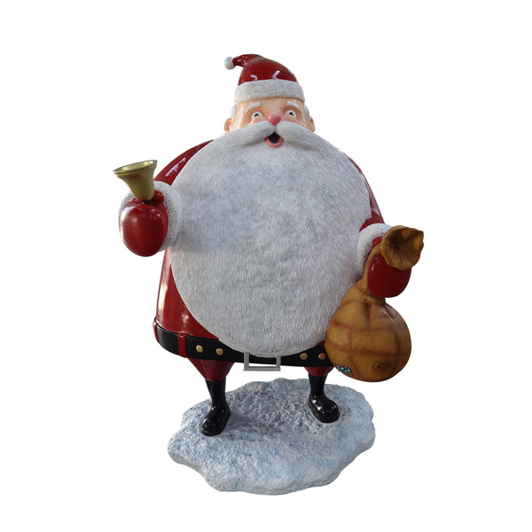 Santa Holding Sack And Bell - LM Treasures Life Size Statues & Prop Rental