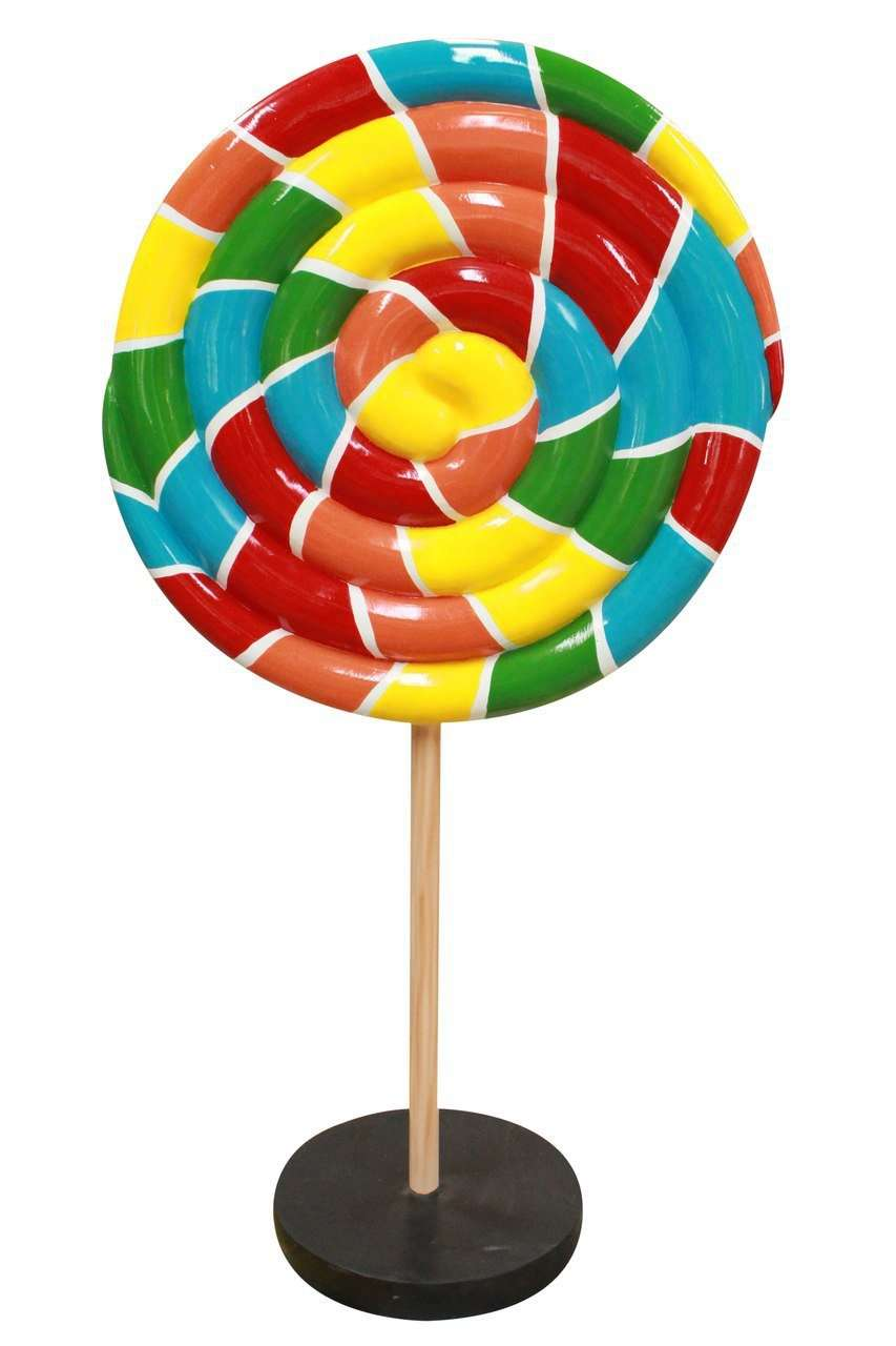 Small Rainbow Twirl Lollipop Over Sized Statue - LM Treasures Life Size Statues & Prop Rental