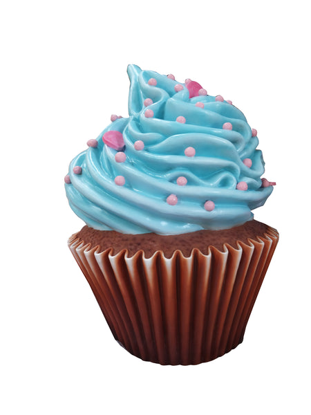 Cupcake Large Vanilla Blue Frosting Over Sized Prop Deecor Resin Statue - LM Treasures