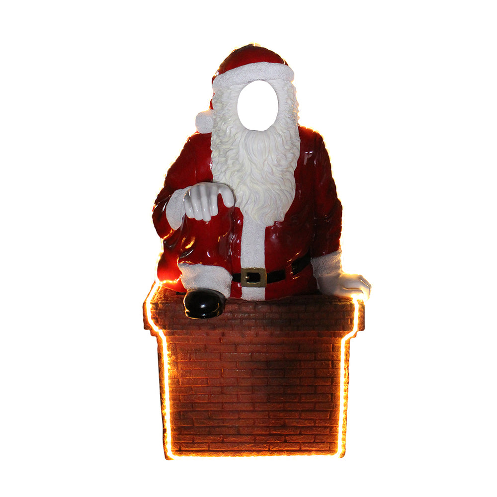 Photo Op Santa In Chimny (Light Up) - LM Treasures Life Size Statues & Prop Rental