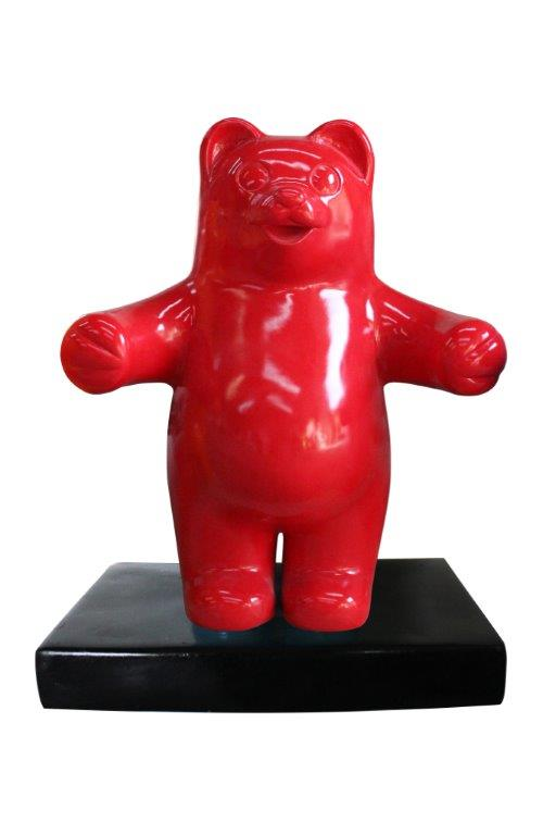Candy Gummy Bear 1 ft Red Over Sized  Statue - LM Treasures Life Size Statues & Prop Rental
