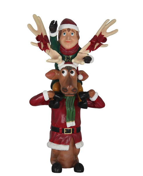Elf Babbo And Reindeer Blitzen - LM Treasures Life Size Statues & Prop Rental