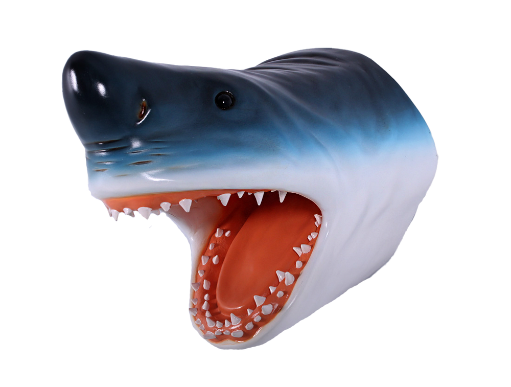 Great White Shark Head Life Size Statue - LM Treasures Life Size Statues & Prop Rental
