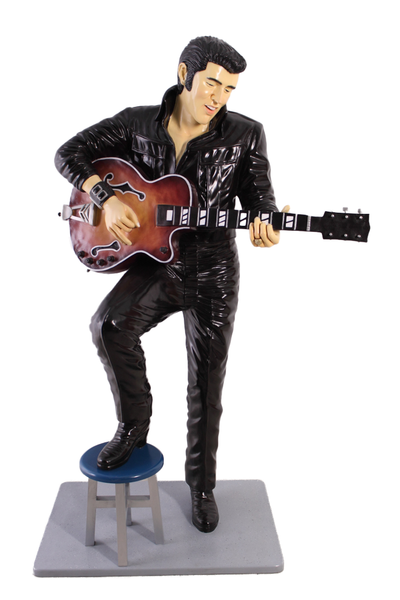 Singer Elvis In Black Life Size Statue - LM Treasures Life Size Statues & Prop Rental