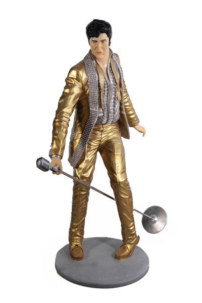 Singer Elvis In Gold Life Size Statue - LM Treasures