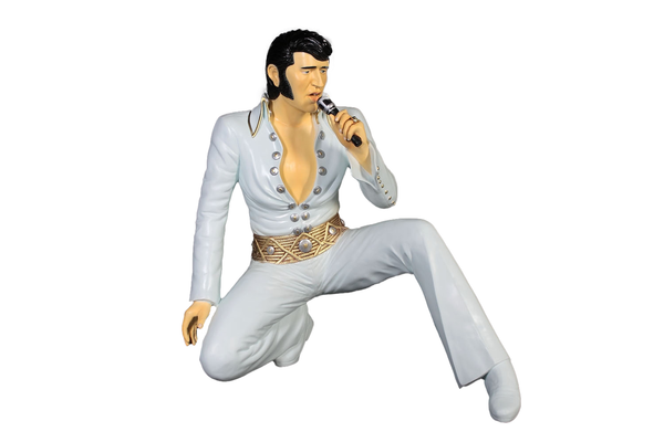 Singer Elvis In White Kneeling Life Size Statue - LM Treasures Life Size Statues & Prop Rental