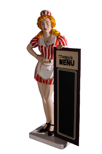 Waitress With Menu Board Life Size Statue - LM Treasures Life Size Statues & Prop Rental