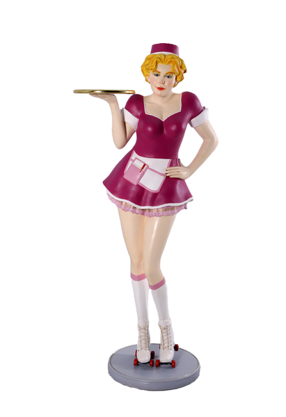 Roller Skater Waitress In Purple Life Size Statue - LM Treasures Life Size Statues & Prop Rental