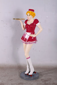 Roller Skater Waitress In Gloss Pink Life Size Statue - LM Treasures Life Size Statues & Prop Rental