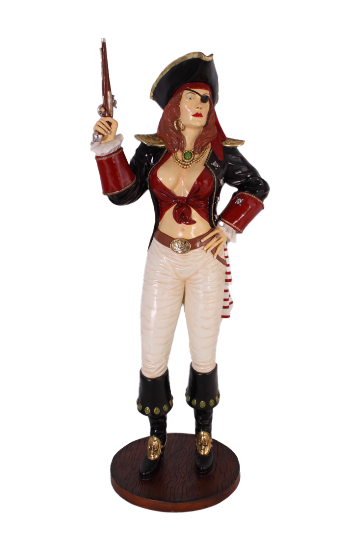 Lady Pirate With Gun Life Size Statue - LM Treasures Life Size Statues & Prop Rental