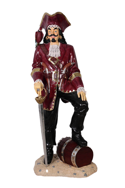 Pirate Captain Morgan With Barrel Life Size Statue - LM Treasures Life Size Statues & Prop Rental