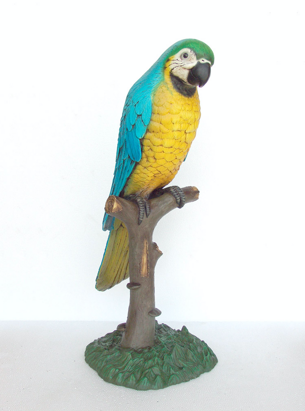 Blue Parrot On Branch Life Size Statue - LM Treasures Life Size Statues & Prop Rental