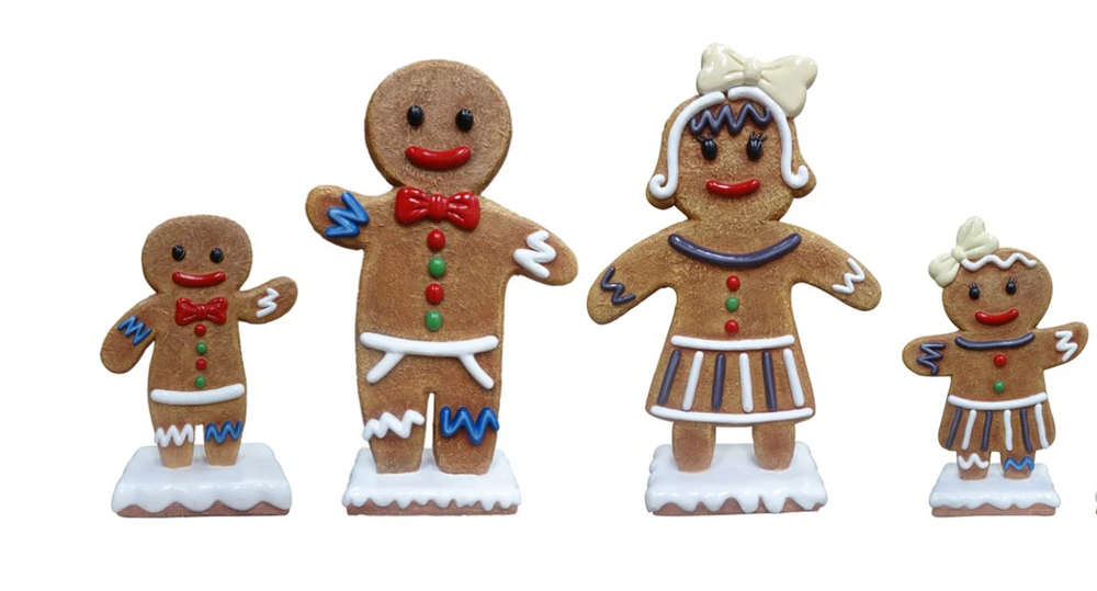 Large Gingerbread Family Set of 4 Over Sized Statue - LM Treasures