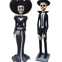 Skeleton Male & Female Halloween Statues Day of the Dead (set of 2) - LM Treasures Life Size Statues & Prop Rental