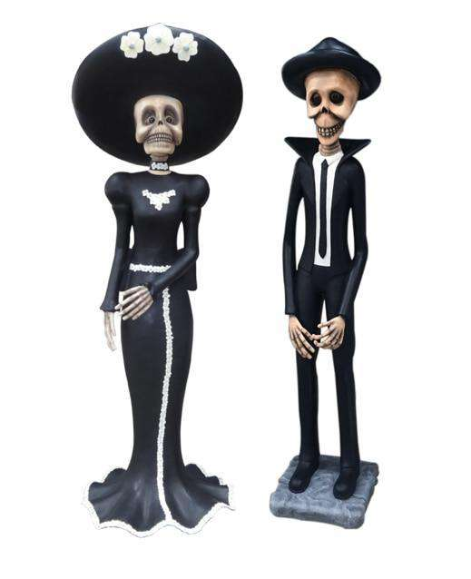 Skeleton Male & Female Set Halloween Statues Day of the Dead - LM Treasures