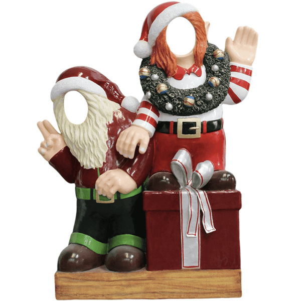 Photo Op Elves With Gifts Crazy - LM Treasures Life Size Statues & Prop Rental