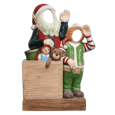 Photo Op Elves With Toys Crazy - LM Treasures Life Size Statues & Prop Rental
