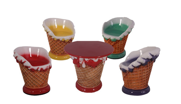 Ice Cream Table And Chairs Set Over Sized Statue - LM Treasures Life Size Statues & Prop Rental