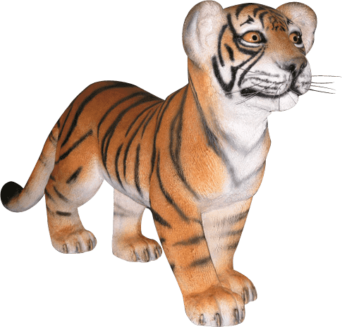 Tiger Bengal Cub Standing Animal Prop Life Size Decor Resin Statue- LM Treasures