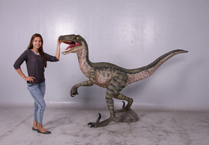 Green Velociraptor Dinosaur Life Size Statue - LM Treasures Life Size Statues & Prop Rental