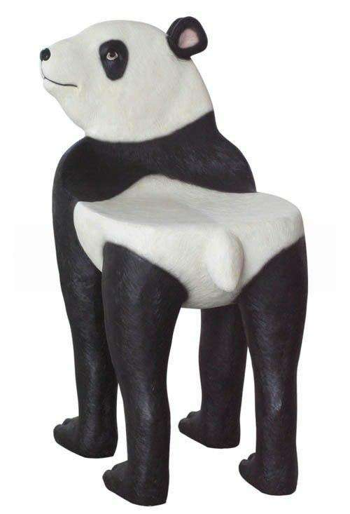 Bear Panda Chair Animal Prop Life Size Decor Resin Statue - LM Treasures Life Size Statues & Prop Rental