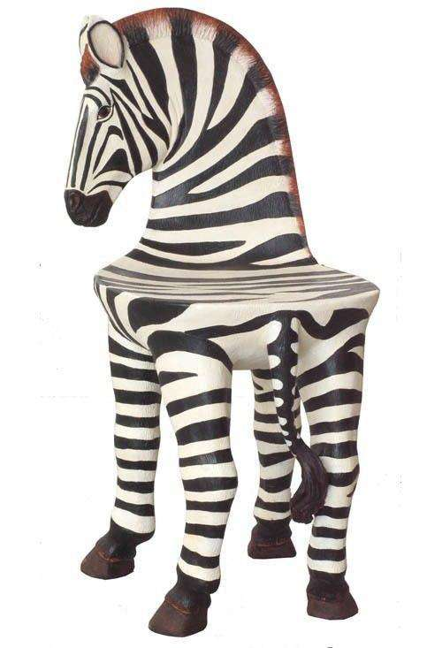 Zebra Chair Safari Prop Decor Resin Statue
