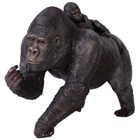 Gorilla Silver Back With Baby Jungle Prop Life Size Resin Statue- LM Treasures