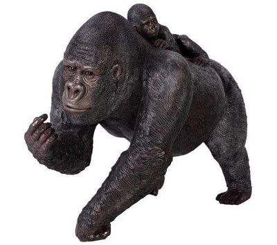 Gorilla Silver Back With Baby Jungle Prop Life Size Resin Statue - LM Treasures Life Size Statues & Prop Rental