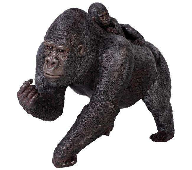 Silver Back Gorilla With Baby Life Size Statue - LM Treasures Life Size Statues & Prop Rental