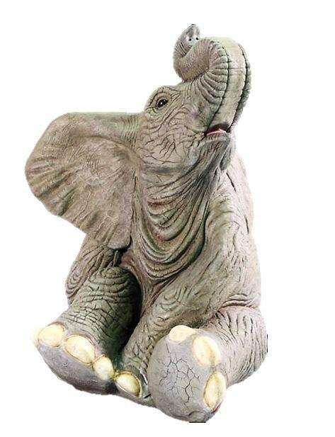 Elephant Baby Sitting Fountain Jungle Animal Resin Statue- LM Treasures