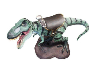 Dinosaur T-Rex Baby Mouth Open With Saddle Prehistoric Prop Resin Statue