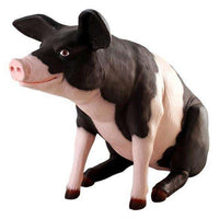Pig Black And Pink Sitting  Farm Prop Life Size Decor Resin Statue - LM Treasures Life Size Statues & Prop Rental