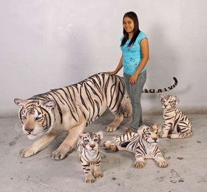 Tiger Siberian Crouching  Animal Prop Life Size Decor Resin Statue - LM Treasures
