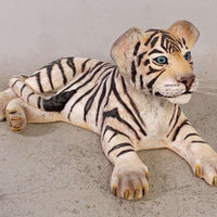 Tiger Siberian Cub Laying Animal Prop Life Size Decor Resin Statue- LM Treasures