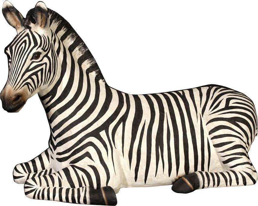 Zebra Resting Safari Prop Life Size Decor Resin Statue- LM Treasures