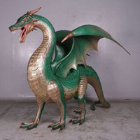 Dragon Green Large Standing Mythical Prop Resin Deecor Statue- LM Treasures