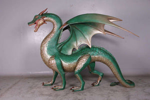 Large Green Dragon Standing Life Size Statue - LM Treasures Life Size Statues & Prop Rental