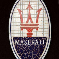 Mosaic Sign Maserati Emblem Look Alike Wall Decor Resin Statue - LM Treasures Life Size Statues & Prop Rental