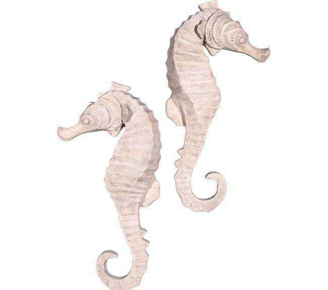 "Seahorse 34"" Wall Decor Animal Prop Resin Statue (Set of 2) - LM Treasures Life Size Statues & Prop Rental"