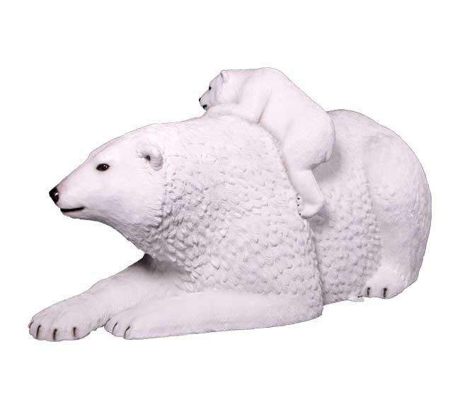 Bear Polar Laying With Cub Arctic Prop Life Size Decor Resin Statue- LM Treasures
