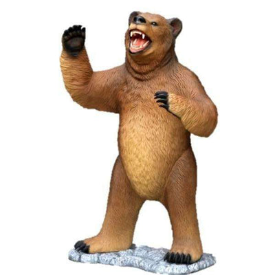 Bear Grizzly Standing Mouth Open Forest Prop Life Size Decor Resin Statue- LM Treasures