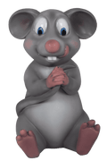 Comic Mouse Holding Tail Resin Statue Movie Prop Decor - LM Treasures Life Size Statues & Prop Rental