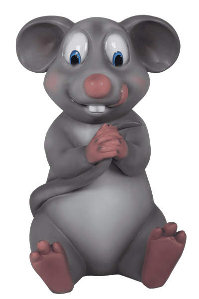 Comic Mouse Sitting Over Sized Statue - LM Treasures Life Size Statues & Prop Rental