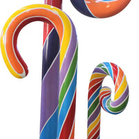 Candy Cane Swirl 4.5 ft Rainbow Trio Over Sized Resin Prop Decor Statue - LM Treasures Life Size Statues & Prop Rental