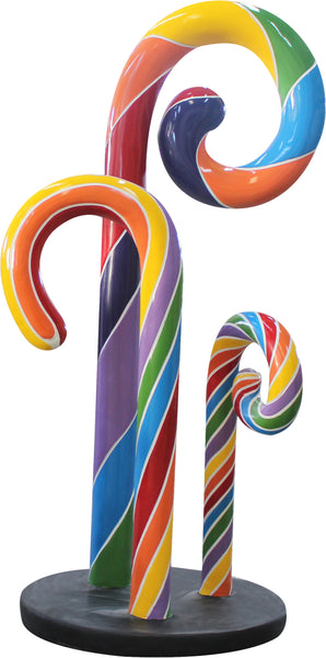 Rainbow Swirl Candy Cane Trio Over Sized Statue - LM Treasures Life Size Statues & Prop Rental