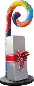 Small Rainbow Swirl Candy Cane With Gift Over Sized Statue - LM Treasures Life Size Statues & Prop Rental