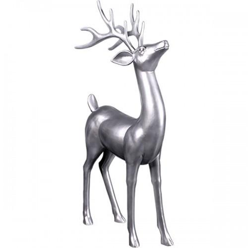 Silver Reindeer Standing Life Size Statue - LM Treasures Life Size Statues & Prop Rental